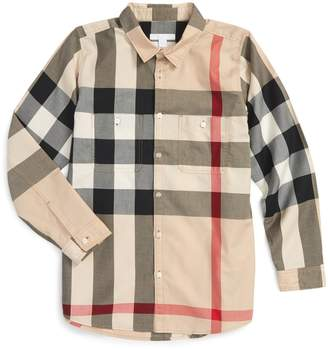 Burberry 'Mini Camber' Check Long Sleeve Shirt