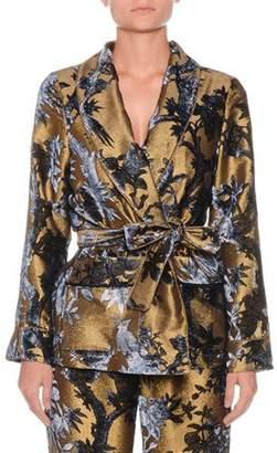 F.R.S For Restless Sleepers Metallic Devore Foliage Applique Robe Top w/ Tie Waist
