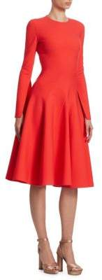 Oscar de la Renta Long-Sleeve Spiral-Cut A-Line Dress