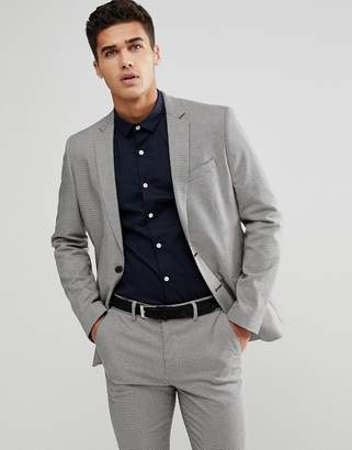 New Look Suit Jacket In Gray Houndstooth
