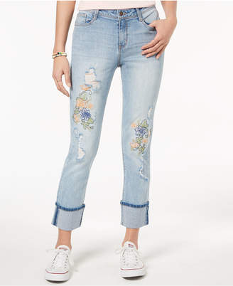 Black Daisy Juniors' Kate Ripped Embroidered Skinny Jeans