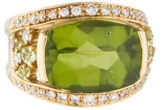Ring 18K Peridot & Diamond Cocktail