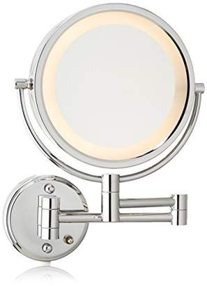 Jerdon HL75C 8.5-Inch Lighted Wall Mount Makeup Mirror with 8x Magnification