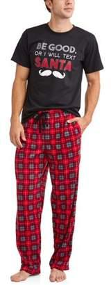 Family PJs Holiday Family Sleep Plaid Santa Pajamas, 2-piece Set (Men's)