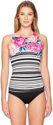 Jantzen Women's Floral Stripe High Neck One Piece Swimsuit
