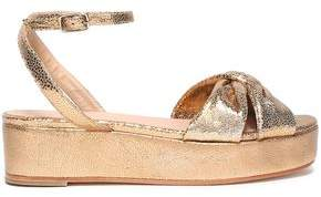 Castaner Twist-front Metallic Leather Platform Sandals