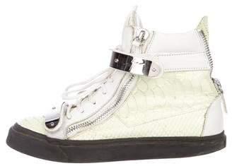 Giuseppe Zanotti Snakeskin High-Top Sneakers