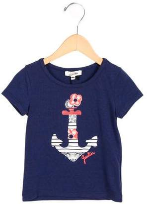 Junior Gaultier Girls' Anchor Print Short Sleeve Top w/ Tags