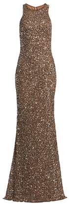 Theia Crunchy Sequin Sleeveless Gown