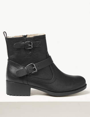 Marks and Spencer Wide Fit Block Heel Biker Ankle Boots