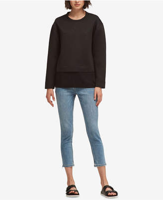 DKNY Studded Layered-Look Sweatshirt, Created for Macy's