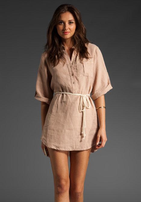 krisa Linen Button Up Mini Dress
