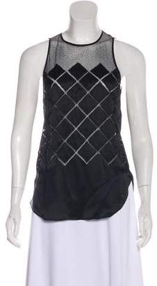 L'Agence Silk Geometric Pattern Sleeveless Top