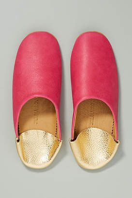Jill Burrows Pink + Gold Slippers