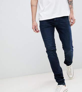 Burton Menswear Tall Skinny Fit Jeans In Dark Blue Wash