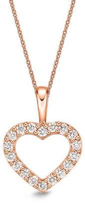Memoire 18k Rose Gold Diamond Heart Pendant Necklace