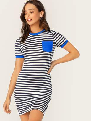 Shein Striped Pocket Patch Bodycon Ringer Tee Dress