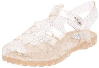 Kotzeb Flat Sandals for Women Jelly Slingback Summer Shoes Adjustable Strap Buckle Beach Closed Toe Slip on Slipper Gold 36