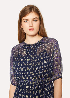 Paul Smith Women's Navy 'Sun' Print Silk-Blend Midi Dress