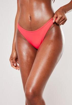 Missguided Neon Coral High Leg Boomerang Bikini Bottoms