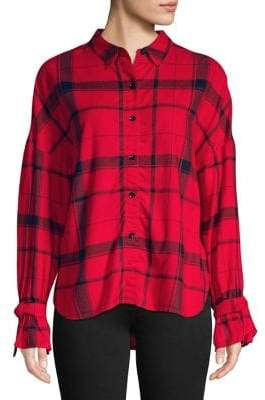 Highline Collective Plaid High-Low Button-Down Shirt