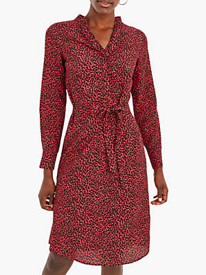 Animal Print Wrap Shirt Dress, Red/Black