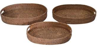A&B Home Wood And Rattan Trays, Set of 3