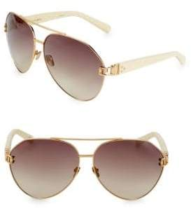 Linda Farrow Luxe Snake-Embossed Arm 57mm Aviator Sunglasses