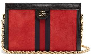 Gucci Ophidia Suede Shoulder Bag - Womens - Red