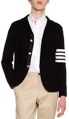 Thom Browne 4-Bar Striped Knit Sport Coat, Navy $2,400 thestylecure.com