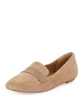 Delman Fab Patent-Strap Suede Loafer, Sand $228 thestylecure.com