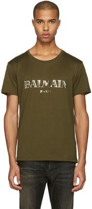Balmain Green Mylar Logo T-Shirt $290 thestylecure.com