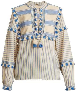 DODO BAR OR Emanuelle fringe-embellished striped cotton top