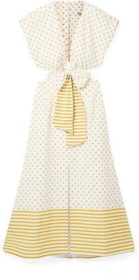 Silvia Tcherassi - Termini Printed Cutout Cotton-poplin Midi Dress - Marigold