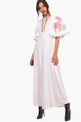 boohoo Embroidered Cape Maxi Dress