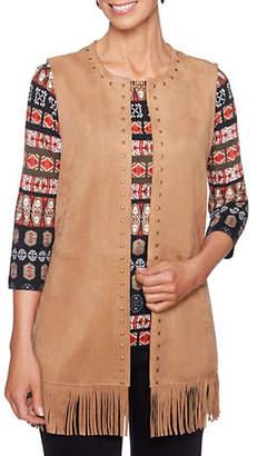 RUBY RD Global Safari Embellished Fringed Vest