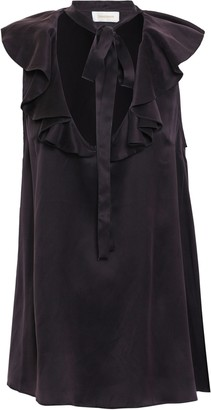 Zimmermann Tie-neck Ruffled Silk-satin Blouse