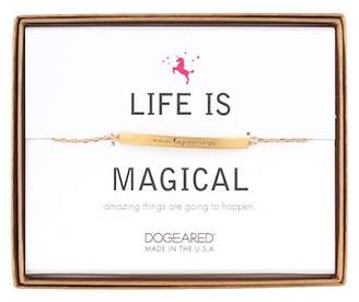 Dogeared 14K Gold Plated Sterling Silver Life is Magical 'New Beginnings' ID Bar Bracelet