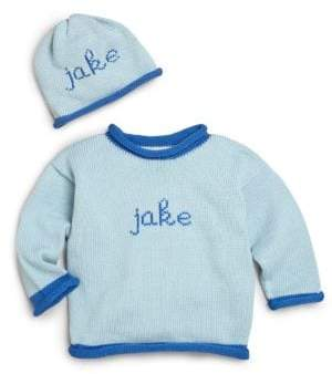 ... MJK Knits Baby s Two-Piece Personalized Scribble Script Cotton Sweater   Hat Set 19332272d1be