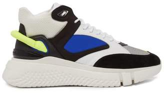 Buscemi Veloce Panelled Leather Trainers - Mens - Black Blue
