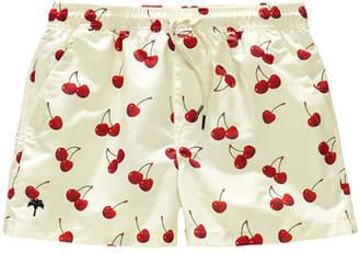 Trunks OAS Kid's Cherry Print Drawstring Swim Trunks, Size 2-14