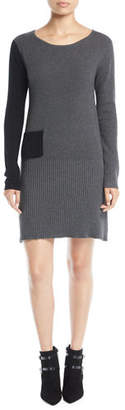 Lisa Todd Long-Sleeve Colorblock Cotton-Cashmere Dress w/ Patch Pocket