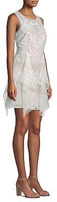 BCBGMAXAZRIA Women's Draped Lace Mini Dress