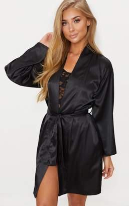 PrettyLittleThing Black Satin Robe