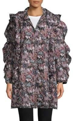 Valentino Printed Ruffle Hooded Coat