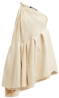Jacquemus Affi One Shoulder Striped Cotton Blend Mini Dress - Womens - Beige