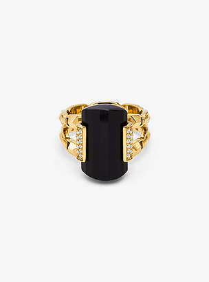 Michael Kors 14k Gold-Plated Sterling Silver Onyx Cocktail Ring