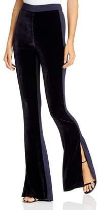 Cushnie Flared Slit-Hem Velvet-Front Pants