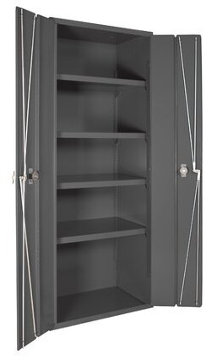 """Durham Manufacturing 84"""" H x 36"""" W x 24"""" D Heavy Duty Welded 14 Gauge Steel Bi-Fold Door Cabinet Durham Manufacturing"""