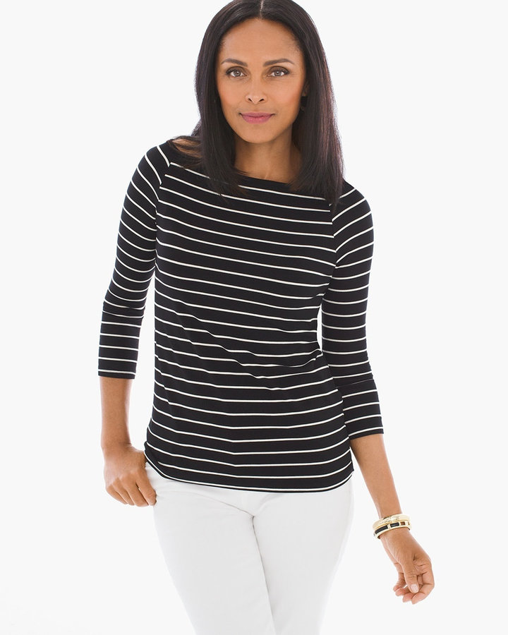Graceful Striped Boatneck Tee